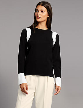 Colour Block Strap Round Neck Jumper