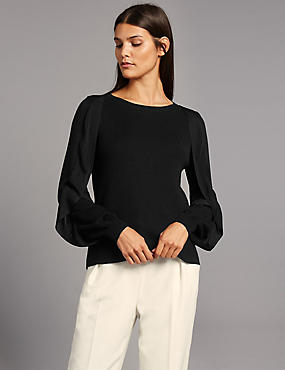 Round Neck Frill Sleeve Jumper
