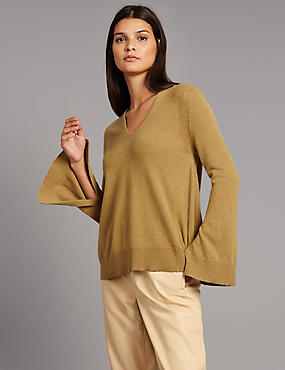 Pure Cashmere Dipped Hem Split Sleeve Jumper