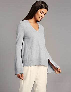 Pure Cashmere Dipped Hem V-Neck Jumper