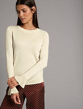 Metallic Flared Cuff Jumper