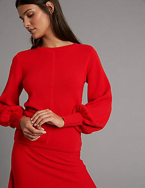 Wool Blend Round Neck Bell Sleeve Jumper