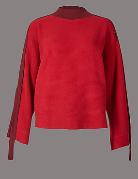 Cotton Blend Ribbed Strap Sleeve Jumper