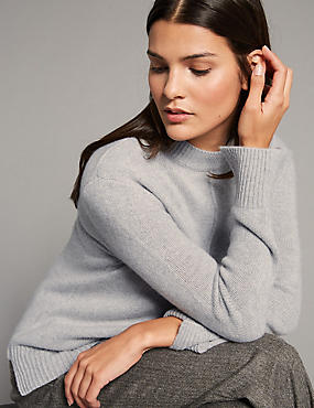 Pure Cashmere Split Cuff Turtle Neck Jumper