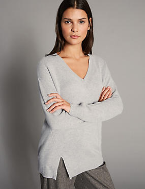 Pure Cashmere Stepped Hem V-Neck Jumper