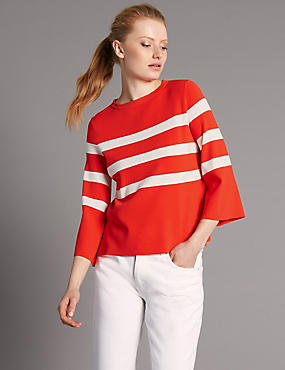 Flared Sleeve Boxy Shape Jumper