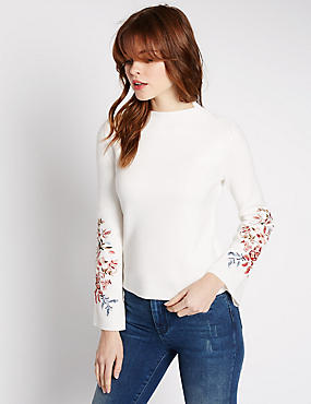 Pure Cotton Embroidered Funnel Neck Jumper