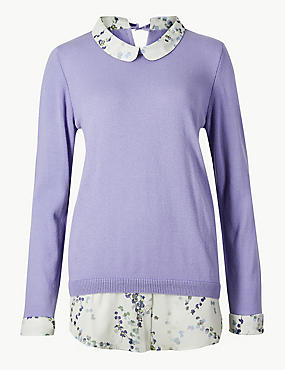 Woven Hem Peter Pan Collar Jumper, LIGHT PURPLE, catlanding