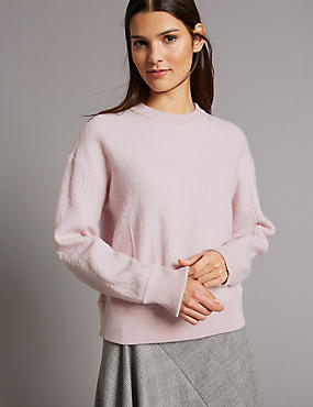 Boiled Wool Blend Textured Round Neck Jumper