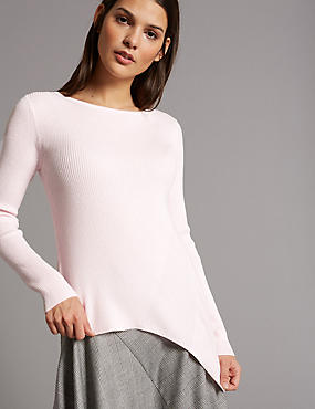 Wool Blend Asymmetrical Hem Jumper
