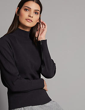 Zipped Detail Funnel Neck Long Sleeve Jumper