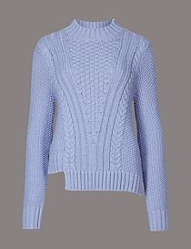 Cotton Blend Step Hem Cable Knit Jumper