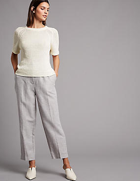 Pure Linen Textured Short Sleeve Jumper, ECRU, catlanding