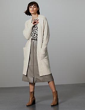 Wool Blend Textured Longline Cardigan , MUSHROOM, catlanding