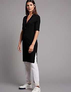 Ribbed Collared Neck Dress, BLACK, catlanding