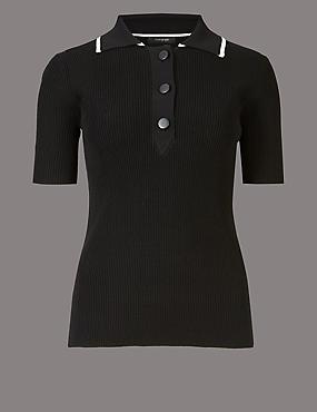 Textured Collared Neck Short Sleeve Jumper  , BLACK MIX, catlanding