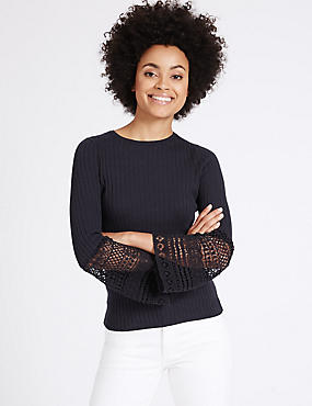 Cotton Blend Lace Flute Sleeve Jumper