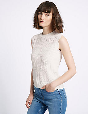 Crochet Lace Round Neck Cap Sleeve Jumper