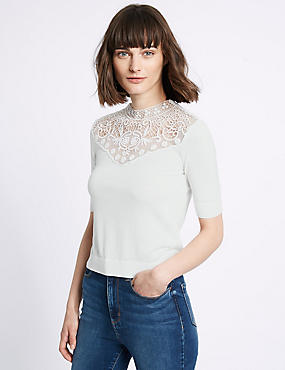 Cotton Blend Crochet Lace Round Neck Jumper