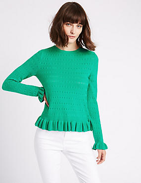 Cotton Blend Ruffle Hem Round Neck Jumper