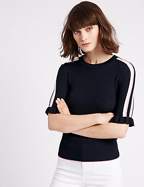Overarm Stripe Half Sleeve Jumper