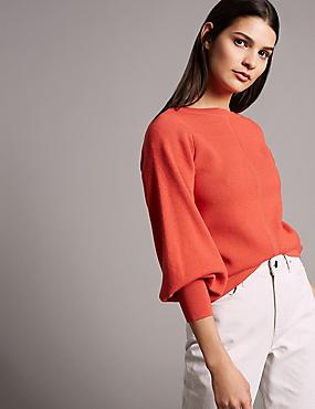Wool Blend Textured Bell Sleeve Jumper, FLAME, catlanding