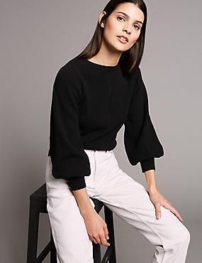 Wool Blend Textured Bell Sleeve Jumper, BLACK, catlanding