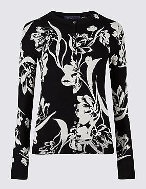 Floral Print Round Neck Cardigan, BLACK, catlanding