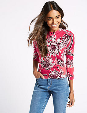 Floral Print Round Neck Long Sleeve Cardigan, RED MIX, catlanding