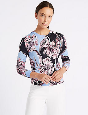 Floral Print Round Neck Long Sleeve Cardigan, BLUEBELL MIX, catlanding