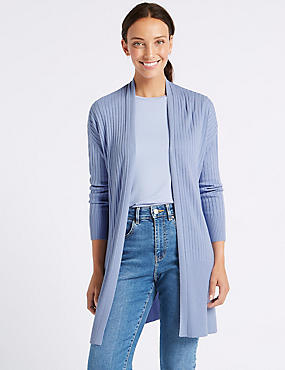 Open Front Ribbed Longline Cardigan, BLUEBELL, catlanding