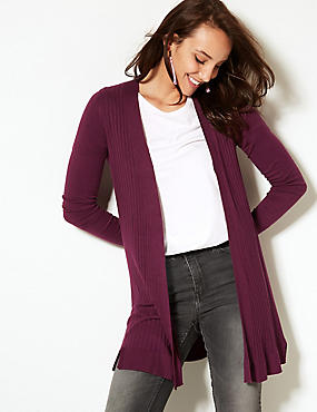 Textured Long Sleeve Longline Cardigan , PLUM, catlanding