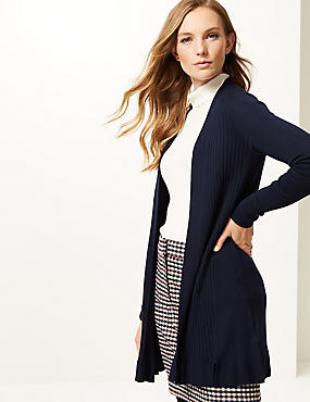 Ribbed Long Sleeve Longline Cardigan , NAVY, catlanding