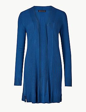 Ribbed Long Sleeve Longline Cardigan , AZURE BLUE, catlanding