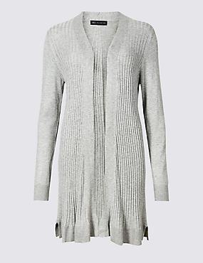 Textured Long Sleeve Longline Cardigan , GREY MARL, catlanding