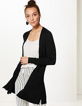 Textured Long Sleeve Longline Cardigan , BLACK, catlanding