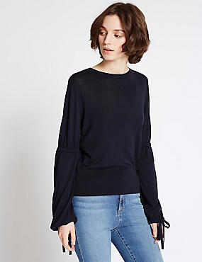 Drawstring Detail Round Neck Jumper