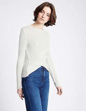 Textured Front Tie Twist Round Neck Jumper