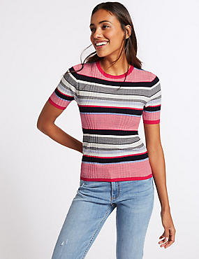 Striped Round Neck Short Sleeve Jumper, NAVY MIX, catlanding