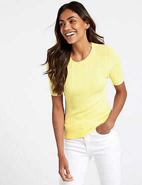 Round Neck Short Sleeve Jumper , LIME, catlanding