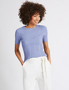 Round Neck Short Sleeve Jumper , BLUEBELL, catlanding