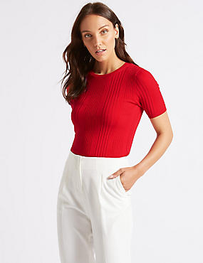 Round Neck Short Sleeve Jumper , CHILLI, catlanding