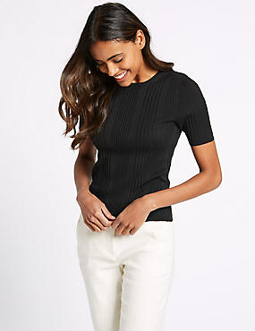 Round Neck Short Sleeve Jumper