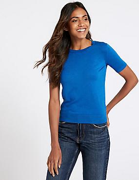 Round Neck Short Sleeve Jumper , BRIGHT BLUE, catlanding