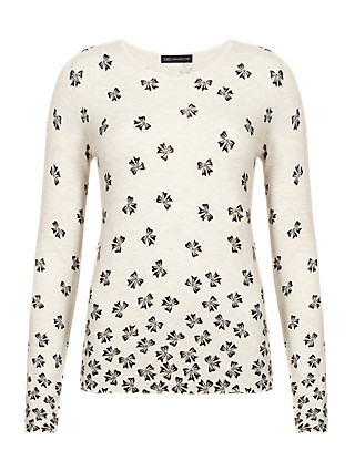 Falling Bow Print Jumper Clothing