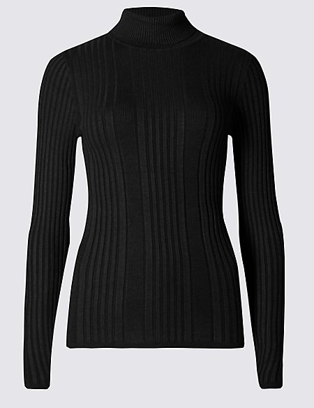 Variegated Ribbed Polo Neck Jumper