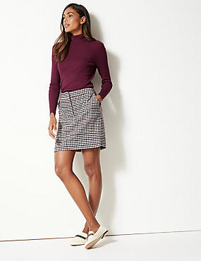 Ribbed Polo Neck Jumper, PLUM, catlanding