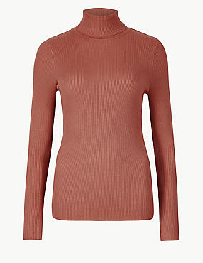 Ribbed Polo Neck Jumper, TERRACOTTA, catlanding