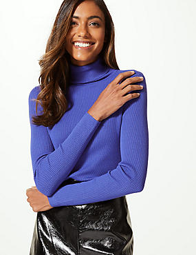 Ribbed Polo Neck Jumper, ULTRAVIOLET, catlanding