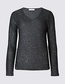 Textured Sequin V-Neck Jumper